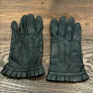 J Crew Black Leather & Silk Gloves w/ Ruffle Cuffs